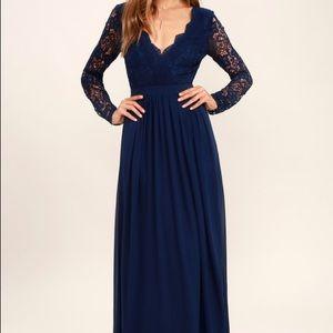 Lulu's Awaken My Love Navy Blue Long Maxi Dress